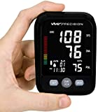 Vive Precision Blood Pressure Cuff and Machine - Automatic Mini BPM - Small, Compact BPM - Large Upper Arm Sphygmomanometer for Accurate BP Meter, Pulse, Heart Rate, Heartbeat Readings - Large Display
