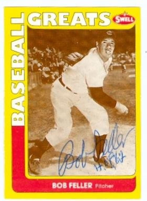 Bob Feller autographed Baseball Card (Cleveland Indians) 1990 Swell Legends  145Autographed Baseball Cards