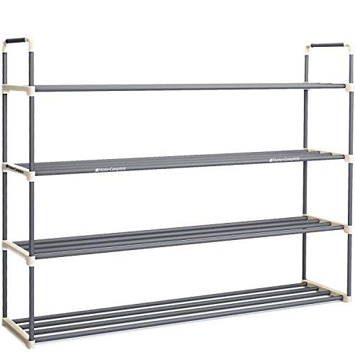 Home-Complete HC-2103 Shoe Rack with 4 Shelves-Four Tiers for 24 Pairs-for Bedroom, Entryway, Hallway, and Closet- Space Saving Storage and Organization, White and Grey