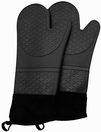 Extra Long Professional Silicone Oven Mitt Flexible Oven Gloves 1 Pair 13 5Inch Black product image