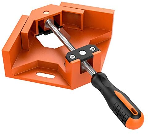 C CASIMR 90 Degree Corner Clamp Orange Adjustable Single Right Angle Clamp,Swing Jaw Woodworking Welding Clip Clamp Tool