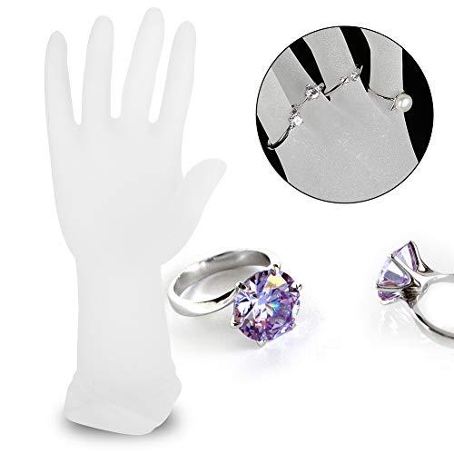 2 soorten mannequin hand vinger sieraden display stand, hars mat mannequin hand vinger sieraden ring armband display houder rek voor ketting ring armband houder(Wit)
