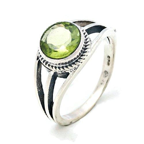 Ring Silber 925 Sterlingsilber Peridot grün Stein (Nr: MRI 133), Ringgröße:62 mm/Ø 19.7 mm