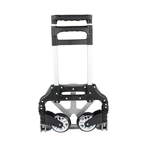 Faltbarer Aluminiumlegierung Transportkarren Sackkarre Handkarre mit ausziehbarem Griff Belastbar bis 80 kg (Schwarz)
