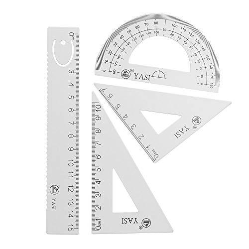 MultiBey Regla de aleación de aluminio, juego de 4 piezas, grueso y duradero, transportador recto, triángulo, papelería, geometría matemática, regalo para estudiantes (blanco)