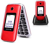 Ushining 3G Unlocked Flip Phone Dual Screen Dual SIM Card Flip Phone Easy-to-Use flip Cell Phone with Charging Dock (Red)