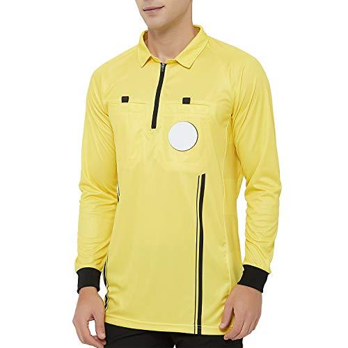 Camiseta Oficial de árbitro de fútbol de Manga Larga TOPTIE para Hombre, Uniforme Profesional de USSF, Amarillo, XL