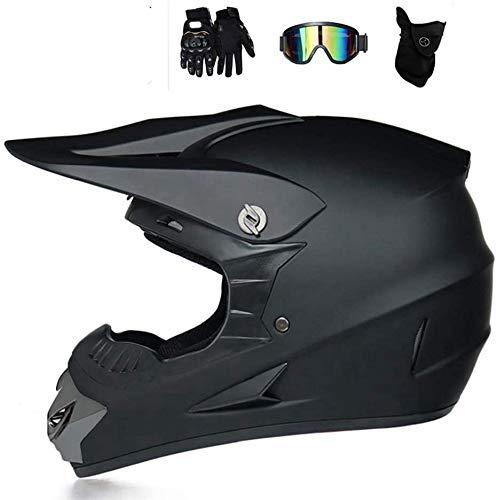 Crosshelm Motocross Downhill Enduro Helm Integralhelm,Full Face Off-Road Motorrad Cross Helme mit Visier Brille Maske Handschuhe, Motorbike Freien Sport Motorcycle Helmet Set (D,M)