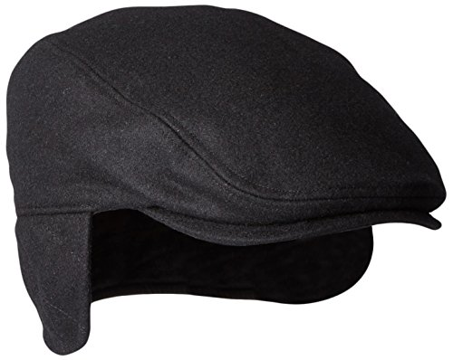 Dockers Men's Solid Melton Hat with Fold-Down Ear Flaps, Black, 32(S/M)