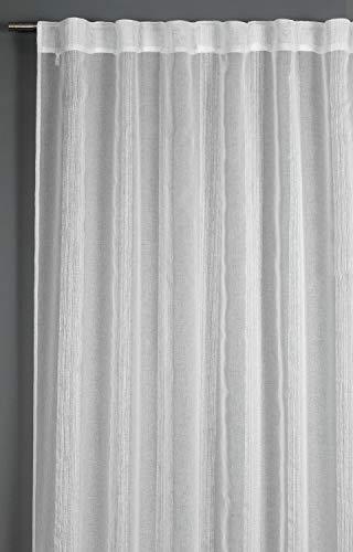 GARDINIA Vorhang mit verdeckten Schlaufen, Transparenter Schlaufenschal, Streifen, Weiß, 140 x 245 cm