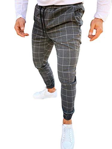 Tomwell Pantalón para Hombre Chino Casual Jogging Slim Fit Largos Deportivos Jogger Pants Impresión a Cuadros Trouser Primavera y Verano (Large, Gris Oscuro)