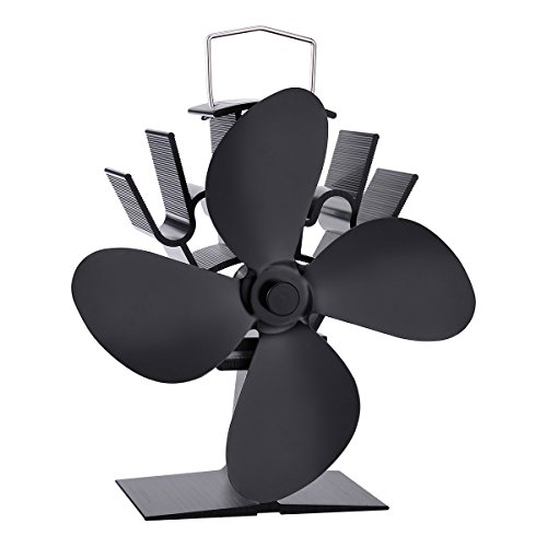 HOUSWEETY Silent Operation 4-Blade Heat Powered Stove Fan for Wood Log...