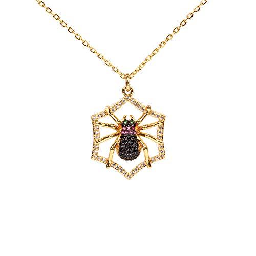 Halloween Schmuck Persönlichkeit Spinne Anhänger Micro Inlay Diamant Zirkon Halskette NE0123-A