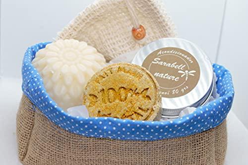 Pack Basic: Saco de yute hecho a mano. Contiene 1 champú sólido, 1 acondicionador semisólido y 1 jabón de coco. Ecológico.100% natural y artesanal