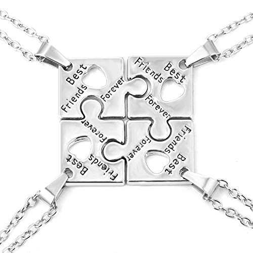 FJ 4 BFF Best Friends Necklaces Puzzle Friendship Necklace for 4