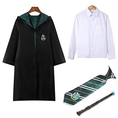 Costume cosplay di Harry per i bambini Serpeverde capo del mantello del legame Camicia bacchetta magica della sciarpa delle ragazze dei ragazzi School Uniform Halloween di carnevale Outfits,Boy,135