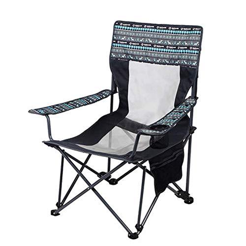 Silla plegable de camping Asiento tapizado de gran tamaño con mesa lateral y bolsa de almacenamiento