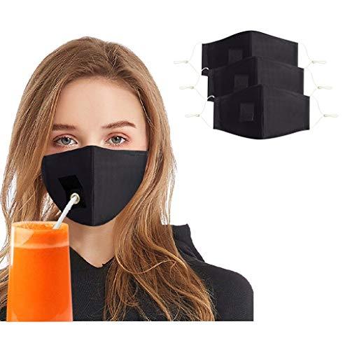 3 Stück Mundschutz mit Loch, Erwachsene Ohrhaken verstellbar Anti Staub mundschutz waschbare Leicht zu Trinken Atmungsaktive mundbedeckung Stoff Unisex Wiederverwendbare für Party (Schwarz)