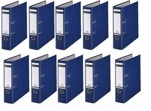 10 LEITZ Ordner 180° 1010-50-35 Blau Kunststoff 8cm Plastik PP Aktenordner 80mm DIN A4 Büro mit Schlitzen
