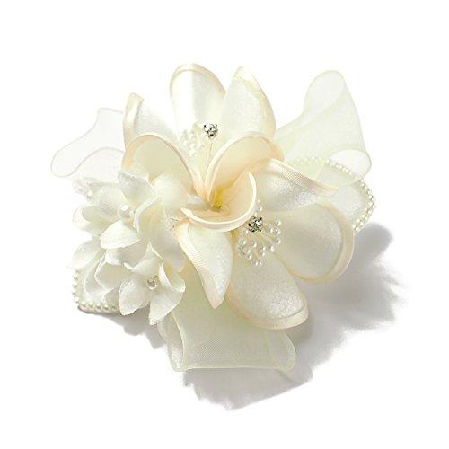 (クレインズコレクション) 手作り 二つ花 型押し コサージュ ブローチ ピン フォーマル シーンや エレガント な装いに (ホワイト)