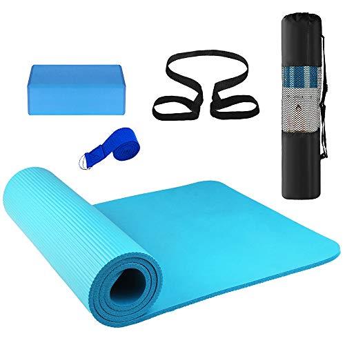 Lixada Estera de yoga antideslizante + Bloques de yoga + Conjunto de 3 correas de estiramiento con bolsa de almacenamiento y correa, Azul