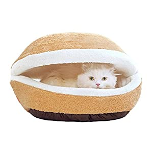 Hysung Lit pour chien ou chat Chats Maison chenil Tapis de lit Shell-shaped Burger Bun Sac de couchage amovible lavable coupe-vent Chatterie