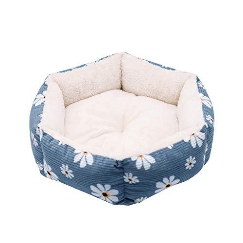 Fenverk Hundebett Haustierbett für Katzen und Hunde Rechteck Ultra Weicher Plüsch luxuriöse Haustier-Schlafsack Maschine waschbar(Blue,L/55 x 47 x 27cm)