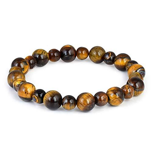 Pulsera elástica de ojo de tigre natural de 6 a 8 mm, piedras preciosas de yoga, para hombres y mujeres, pulsera elástica de ojo de tigre