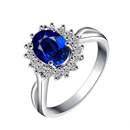 Epinki 18K Oro Blanco Anillo 0.6-1.1CT Ovalada Zafiro Diamante Anillo para Matrimonio Compromiso Aniversario Cumpleaños