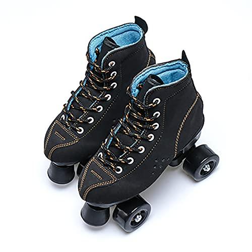 Klassische Rollschuhe Artistic, Quad Rollschuhe, Rollschuhe mit PU-Rad Rindsleder Obermaterial, für Mädchen Jungen, Männer und Frauen, Erwachsene Black,34
