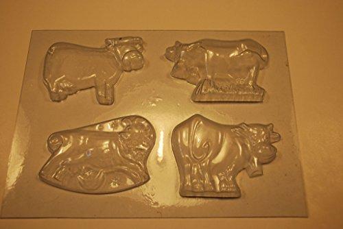 Calmer Solutions Moule en PVC Assortis Vaches 8cm de Long 1cm de Profondeur pour Savon, Chocolat, des Bonbons ou Le Plâtre