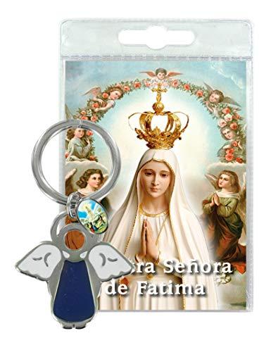 Ferrari & Arrighetti Llavero ángel con medallita y oración de la Virgen de Fátima - en español