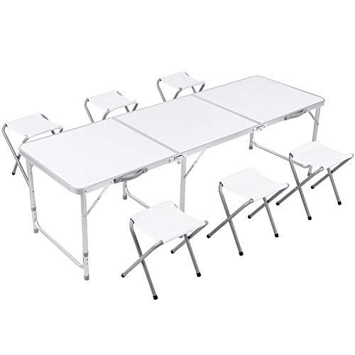 Campingtisch faltbar Gartentisch mit Stühlen Klapptisch Falttisch aus Aluminium höhenverstellbar weiß 180x60cm