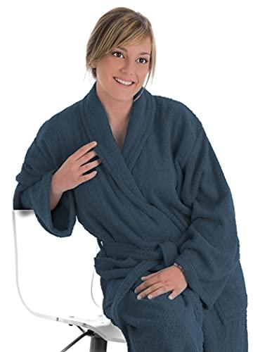 LEBENGOOD Albornoz Unisex para Mujer y Hombre 100% Algodón Rizo Americano 400 gr con Cinturón, Bolsillos, Ducha, Bata Suave, Toalla (XL, Marengo )