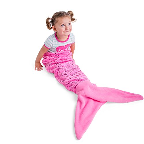 Vital Tiger Pink Mermaid Tail Blanket for Kids – Silky Soft Extra Cozy Plush Fleece Lined Cutout Lace Snuggle Blanket for Little Girl Toddler