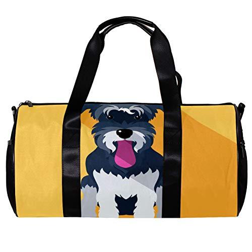 Runde Sporttasche mit abnehmbarem Schultergurt für Hunde und Schnauzer, Rassen, Training, Handtasche, für Damen und Herren