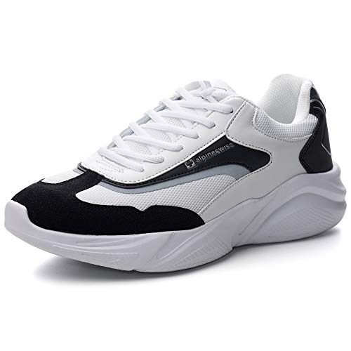 Alpine Swiss Stuart Mens Chunky Fashion Sneakers, Black White, 11