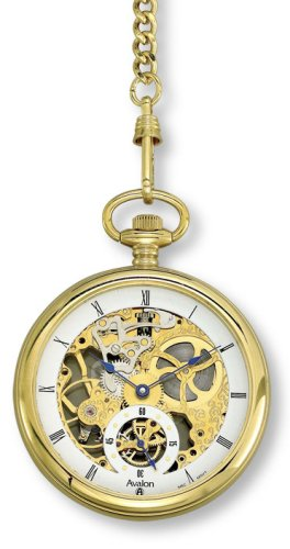 Avalon Gold-Tone 17 Jewel Mechanical (Wind-Up) Skeleton Pocket Watch with Chain # 8619G: Watches