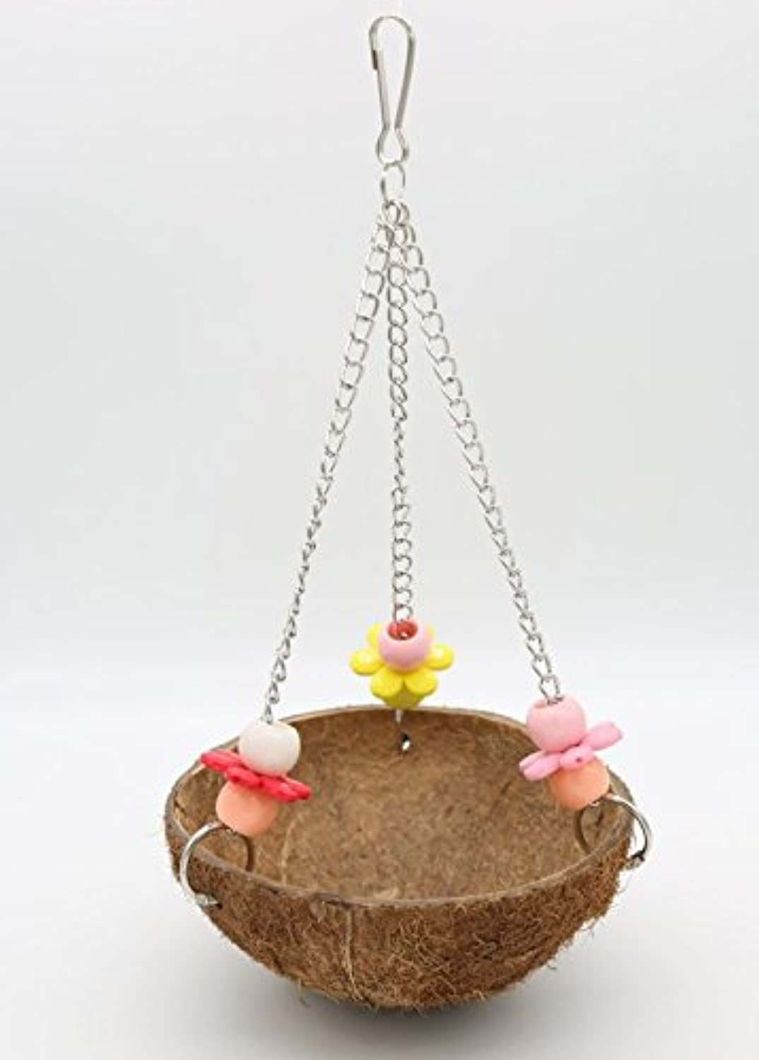 Old Tjikko Bird Nest, Parred Swing,Pet Bird Cage Toys,Coconut Nest with Hook (1pc)