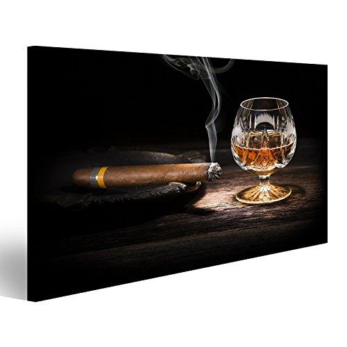 islandburner Quadro Moderno Whisky e Sigaro Stampa su Tela - Quadro x poltrone Salotto Cucina mobili Ufficio casa - Fotografica Formato XXL