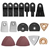 QLOUNI 24Pcs Oscillating Multi-Tool Accessory Kit - Oscillating Tool Blades for Sanding, Grinding and Cutting...