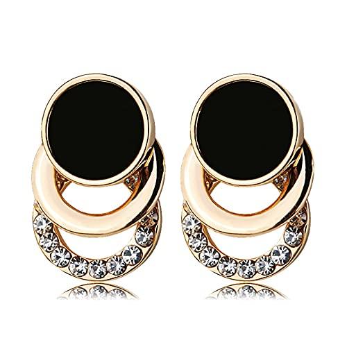 Owenqian Pendientes de botón de Cristal geométrico con Encanto de Moda círculo Redondo Brillante Diamantes de imitación Pendientes Grandes joyería Regalo de Mujer