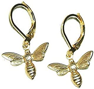 95d526fb82408b BEE EARRINGS Small Petite Drop Dangles SAVE THE BEES Gold Pltd