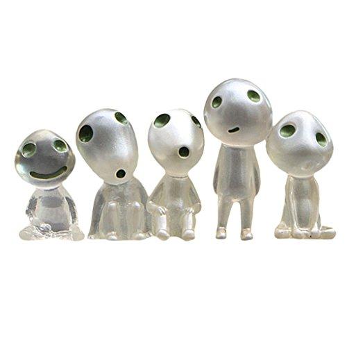 Baoblaze 5 Piezas de Muñeco de Elfos de árbol en Miniatura Que Brillan en La Oscuridad Juguetes de Hadas de Dibujos Animados Paisaje Bonsai Decoración de La Ca