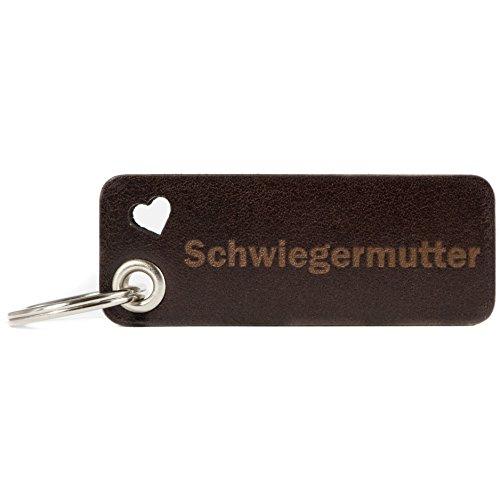 HUNTON - Schwiegermutter - Leder Schlüsselanhänger - Echtleder - mit Gravur 4mm Öse