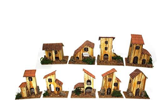 Natale Set 9 Casette presepe Piccole Miniatura Box assortite 8x5x10 h. cm presepio Napoletano casolari Decorazione