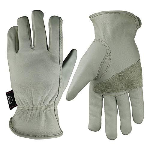 KIM YUAN Leather Work Gloves Grain Cowhide for Yard Work, Gardening, Farm, Warehouse, Construction, Motorcycle, with Elastic Wrist, Men & Women XXL