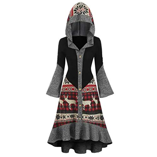PLOT Damen Mantel Lang Weihnachten Elegant Winter Klassische Vintage Trenchcoat Wollmantel mit Kapuze Kleider Umhang Warme Wintermantel Outwear Gothic Parka Jacke Coat