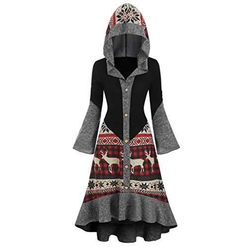 Floweworld Damen Kapuzen Kleider Fashion Plus Size Weihnachten Elch Schmetterling Ärmel High Low Volantsaum Knopf Strickkleider Mäntel