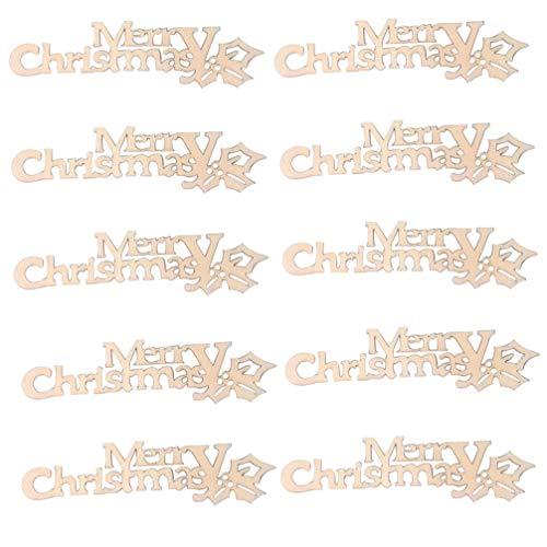 Amosfun 20pcs Decorazioni Natalizie in Legno Ornamenti in Legno Ritagli di Buon Natale Forme Tag Regalo di Natale abbellimenti Fai da Te